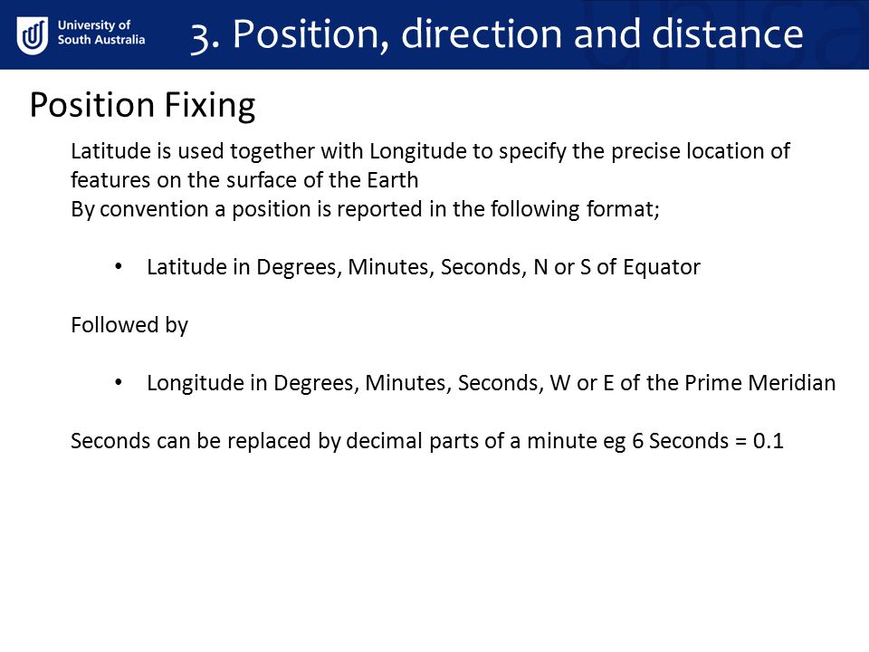 3. Position, direction and distance