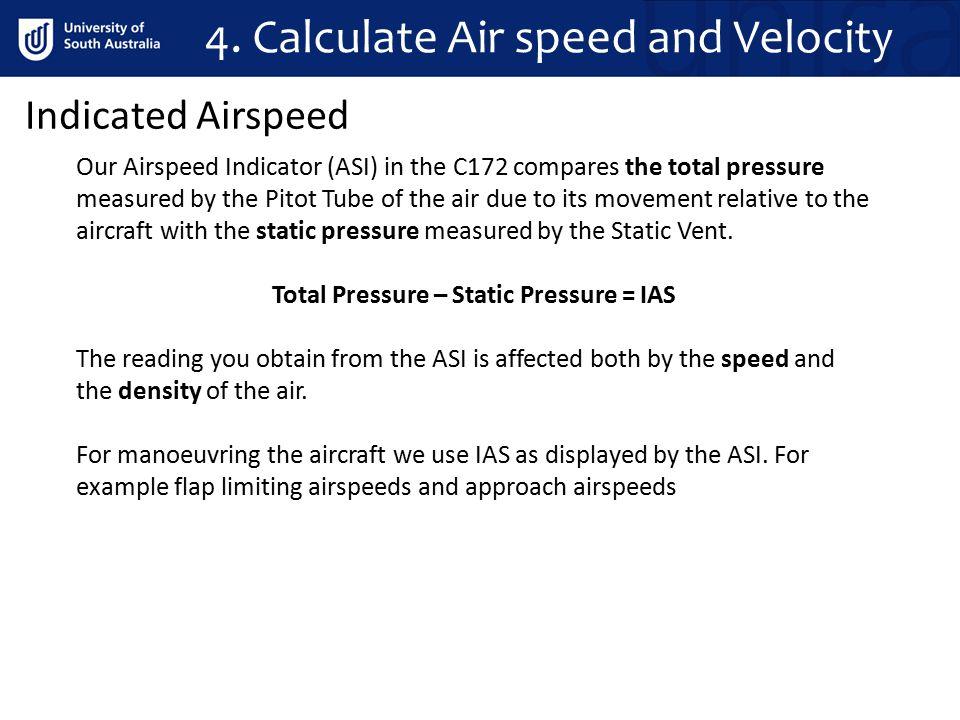 Total Pressure – Static Pressure = IAS