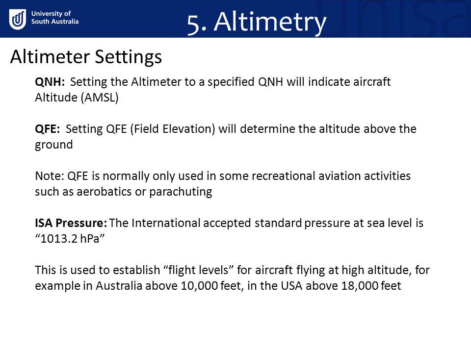 5. Altimetry Altimeter Settings