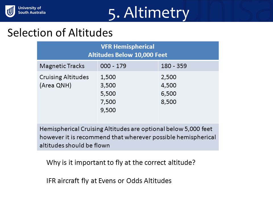 5. Altimetry Selection of Altitudes