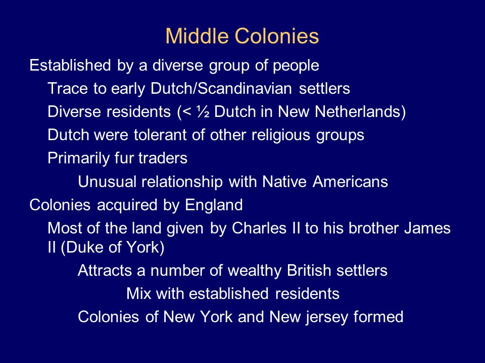 Middle Colonies Established by a diverse group of people
