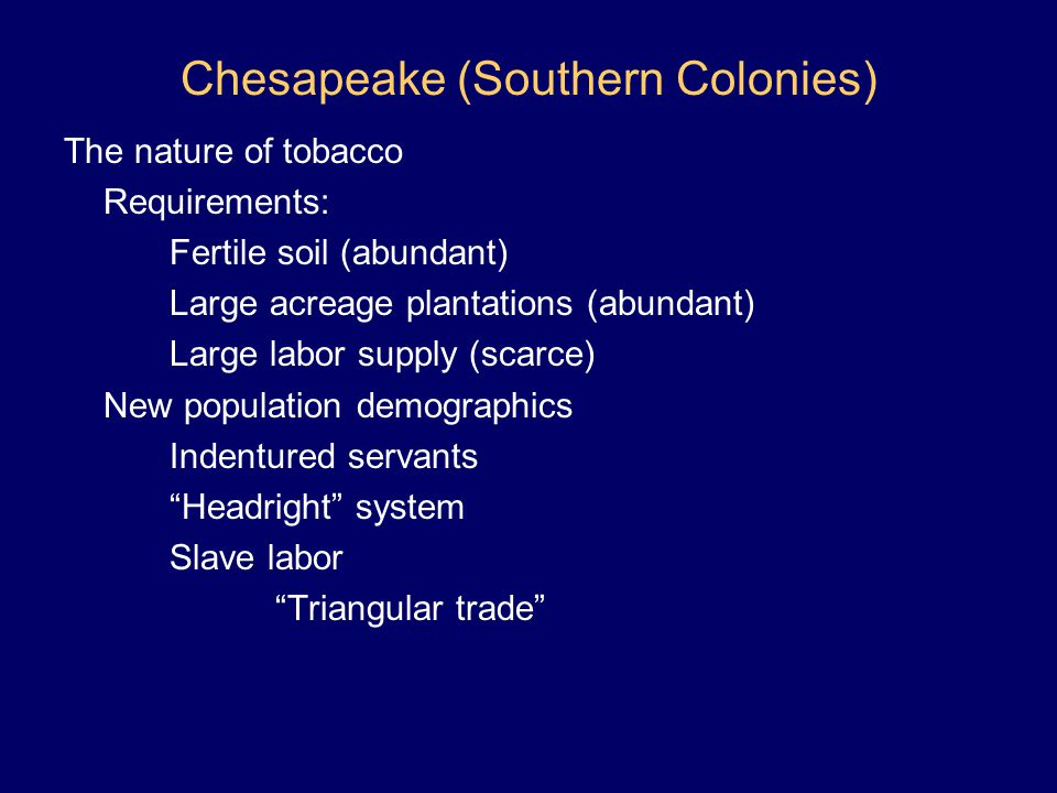 Chesapeake (Southern Colonies)