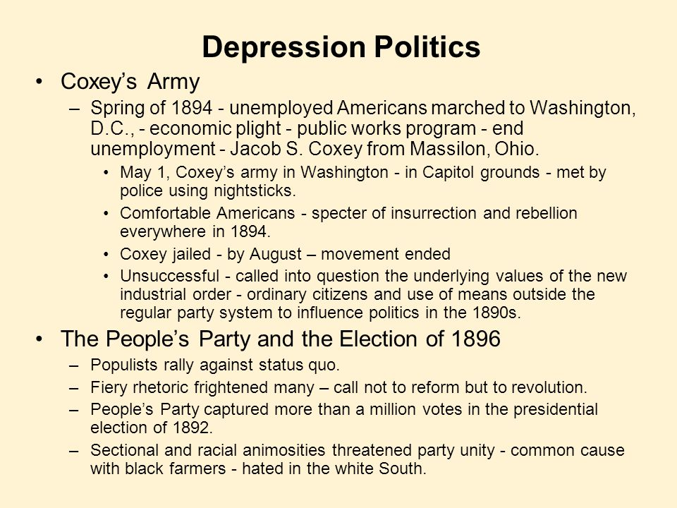 Depression Politics Coxey's Army