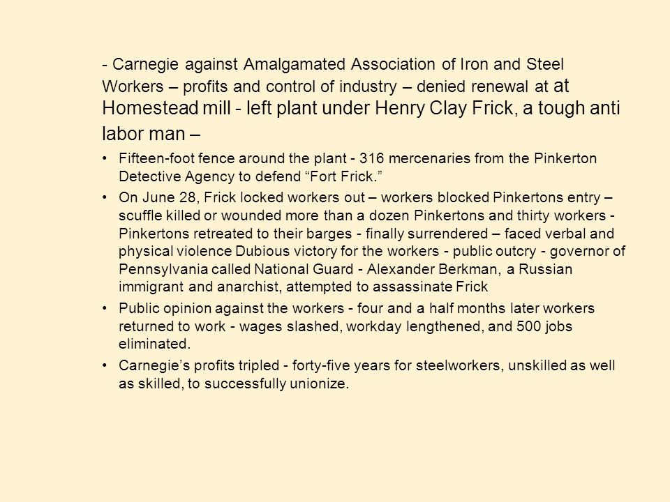 - Carnegie against Amalgamated Association of Iron and Steel