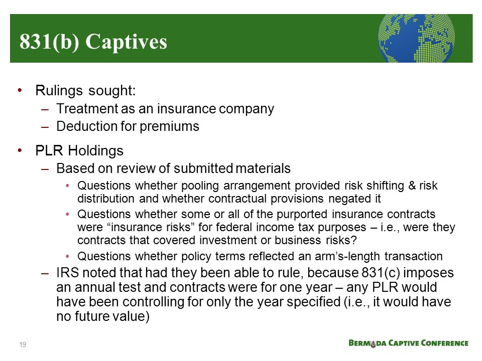 831(b) Captives Rulings sought: PLR Holdings