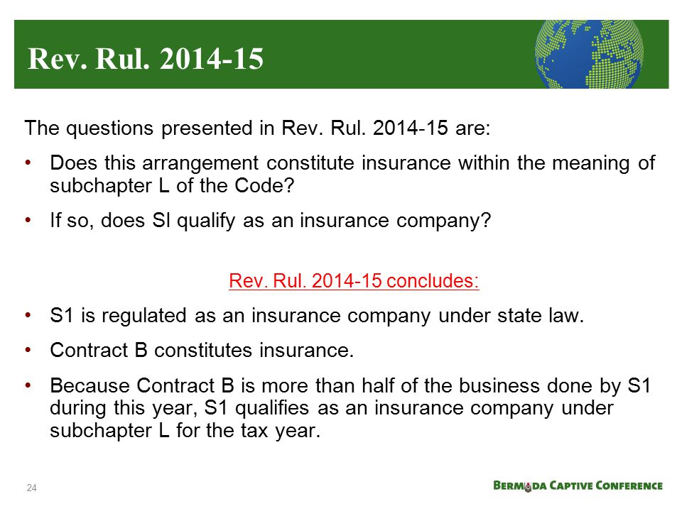 Rev. Rul. 2014-15 The questions presented in Rev. Rul. 2014-15 are: