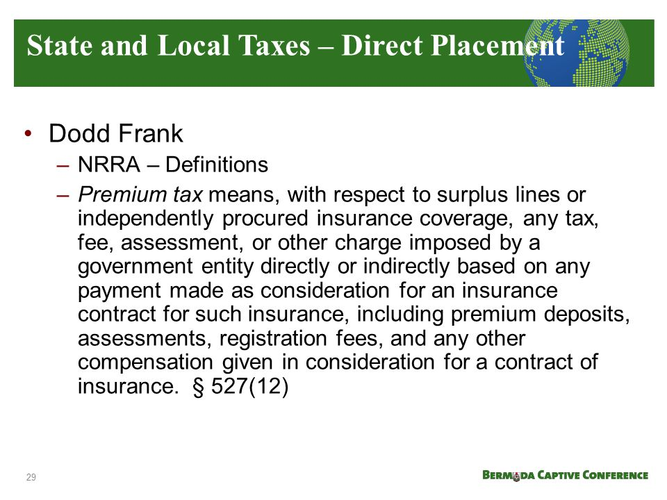 State and Local Taxes – Direct Placement