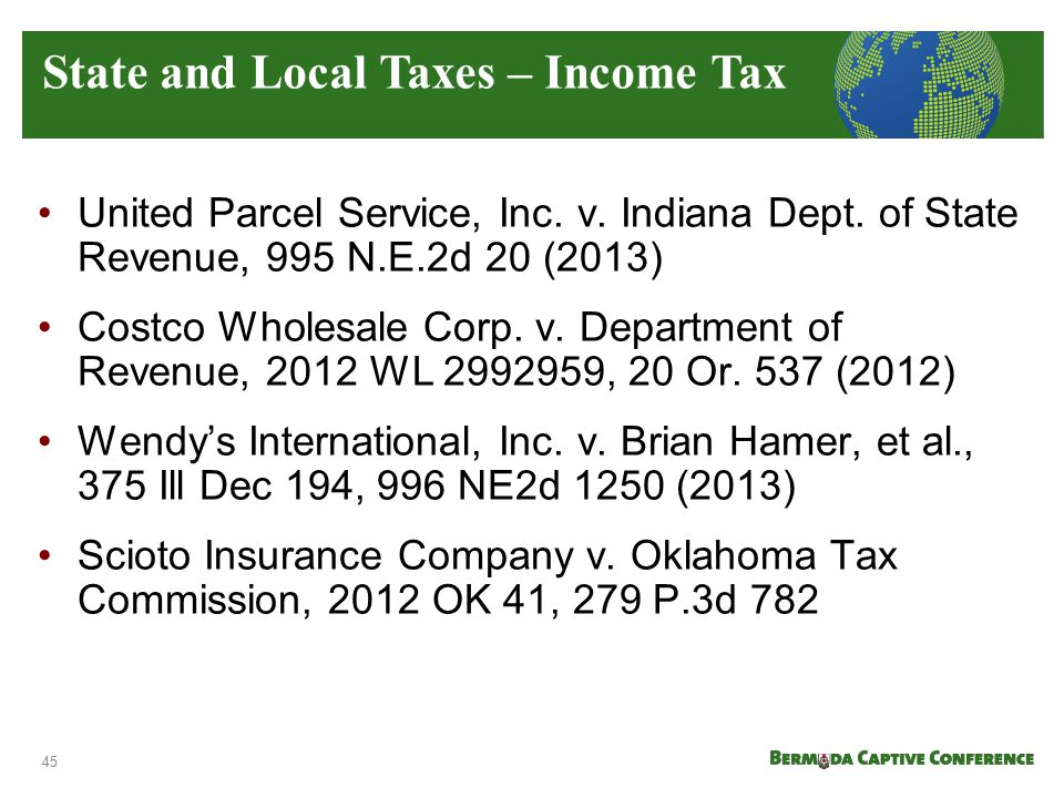 State and Local Taxes – Income Tax