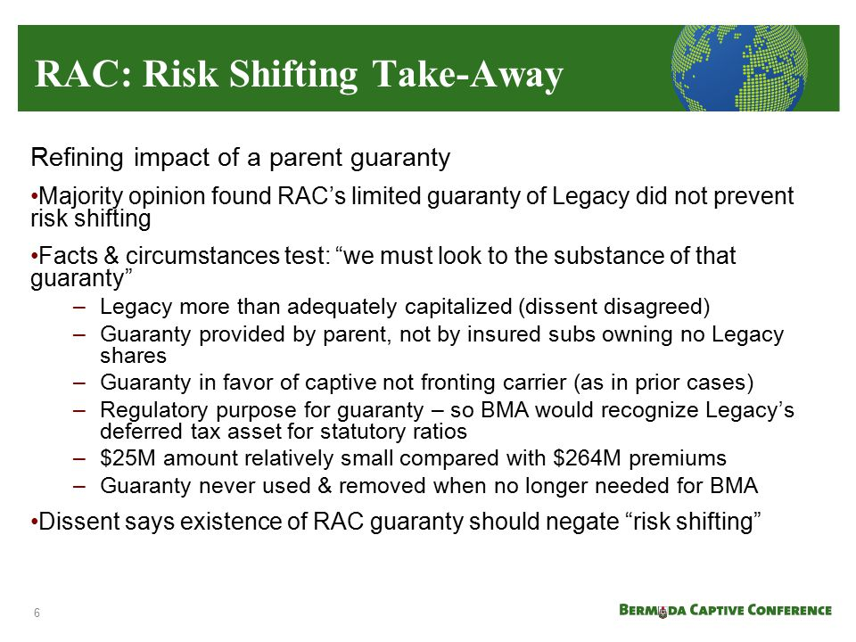 RAC: Risk Shifting Take-Away