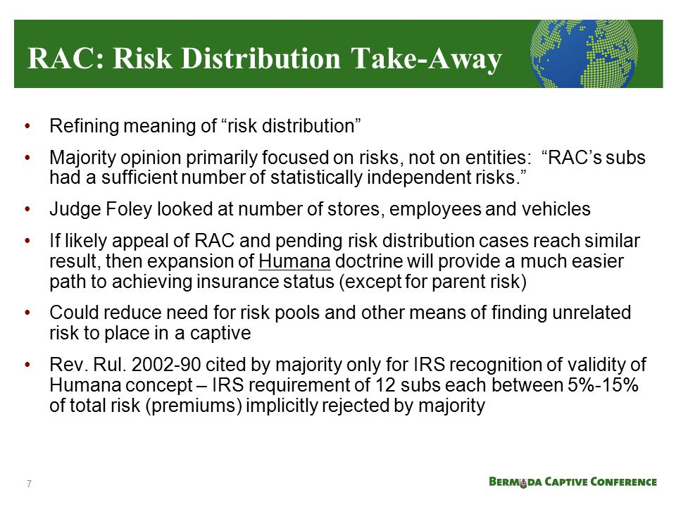 RAC: Risk Distribution Take-Away