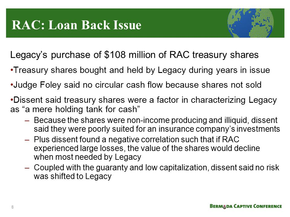 RAC: Loan Back Issue Legacy's purchase of $108 million of RAC treasury shares. Treasury shares bought and held by Legacy during years in issue.