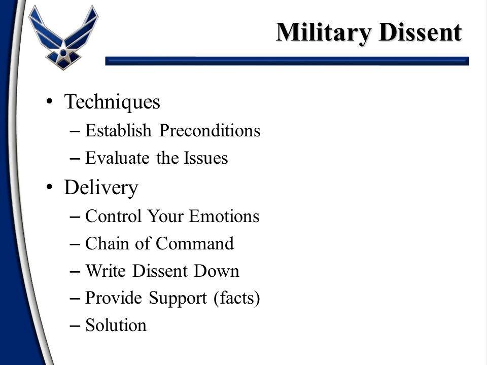 Military Dissent Techniques Delivery Establish Preconditions