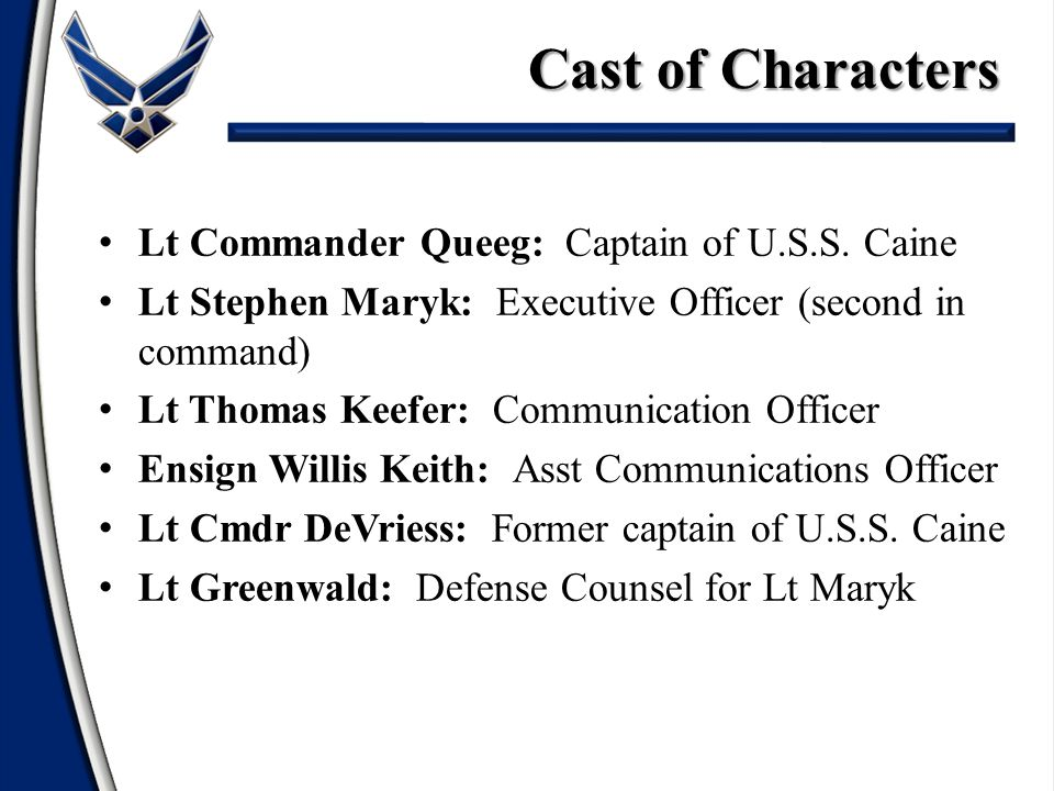 Cast of Characters Lt Commander Queeg: Captain of U.S.S. Caine