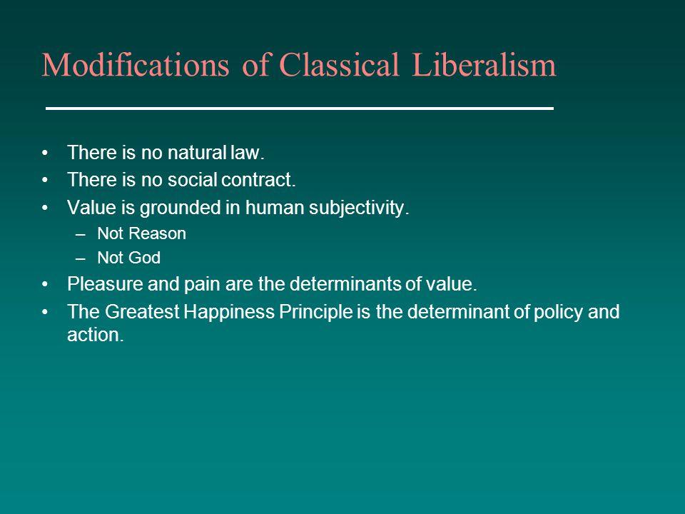 Modifications of Classical Liberalism