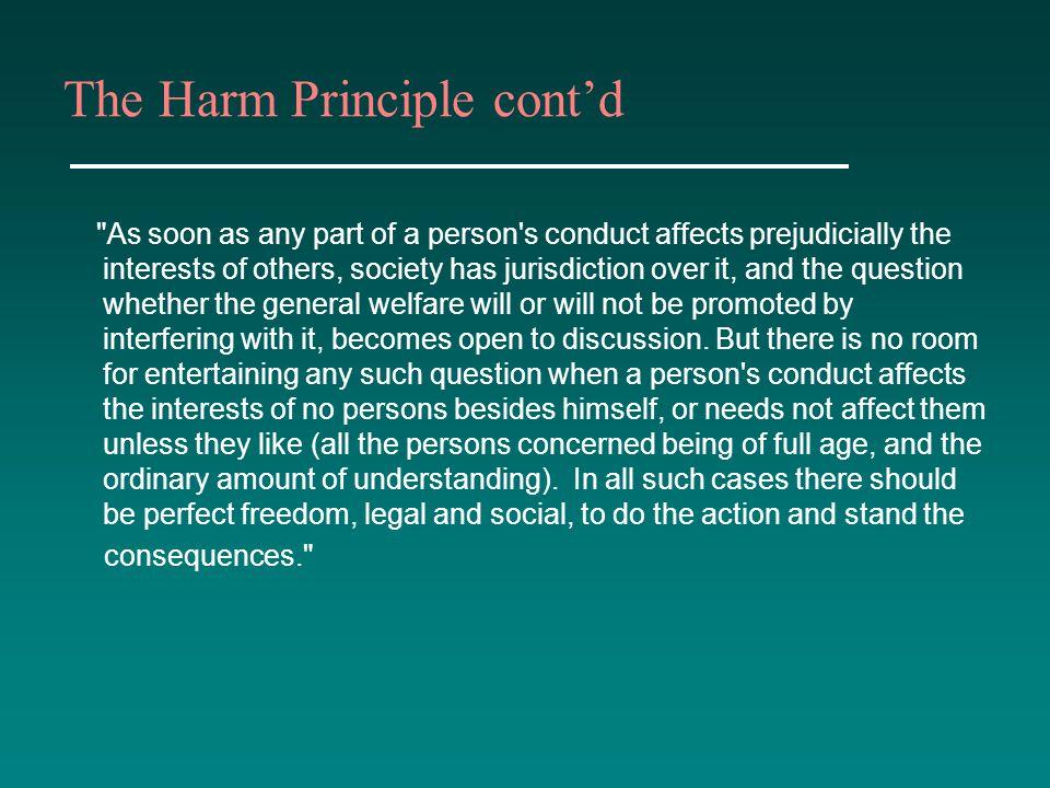 The Harm Principle cont'd