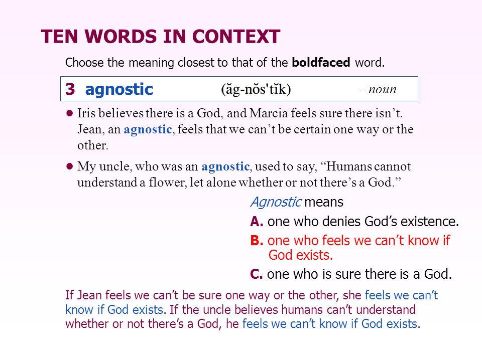 TEN WORDS IN CONTEXT 3 agnostic – noun