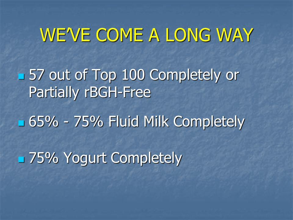 WE'VE COME A LONG WAY 57 out of Top 100 Completely or Partially rBGH-Free. 65% - 75% Fluid Milk Completely.