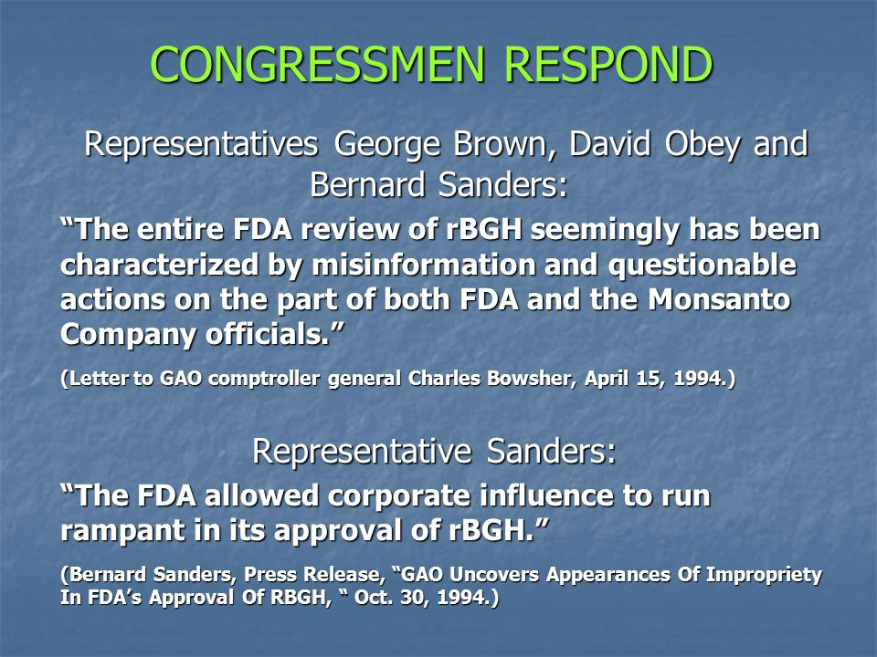 CONGRESSMEN RESPOND Representatives George Brown, David Obey and Bernard Sanders: