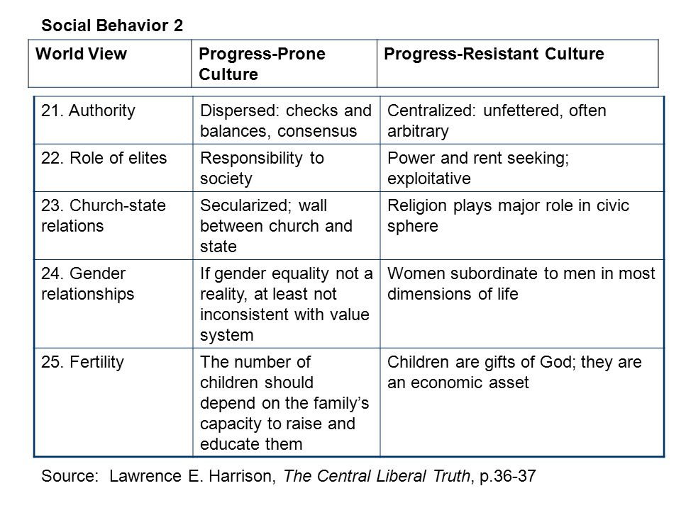 Social Behavior 2 World View. Progress-Prone Culture. Progress-Resistant Culture. 21. Authority.