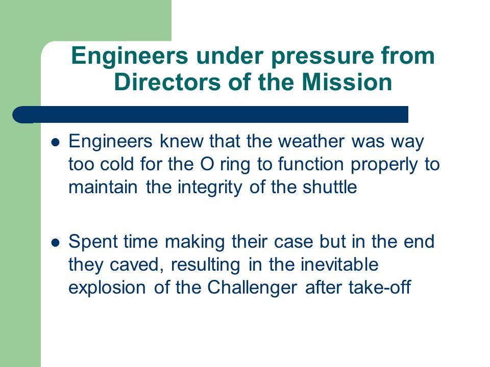 Engineers under pressure from Directors of the Mission