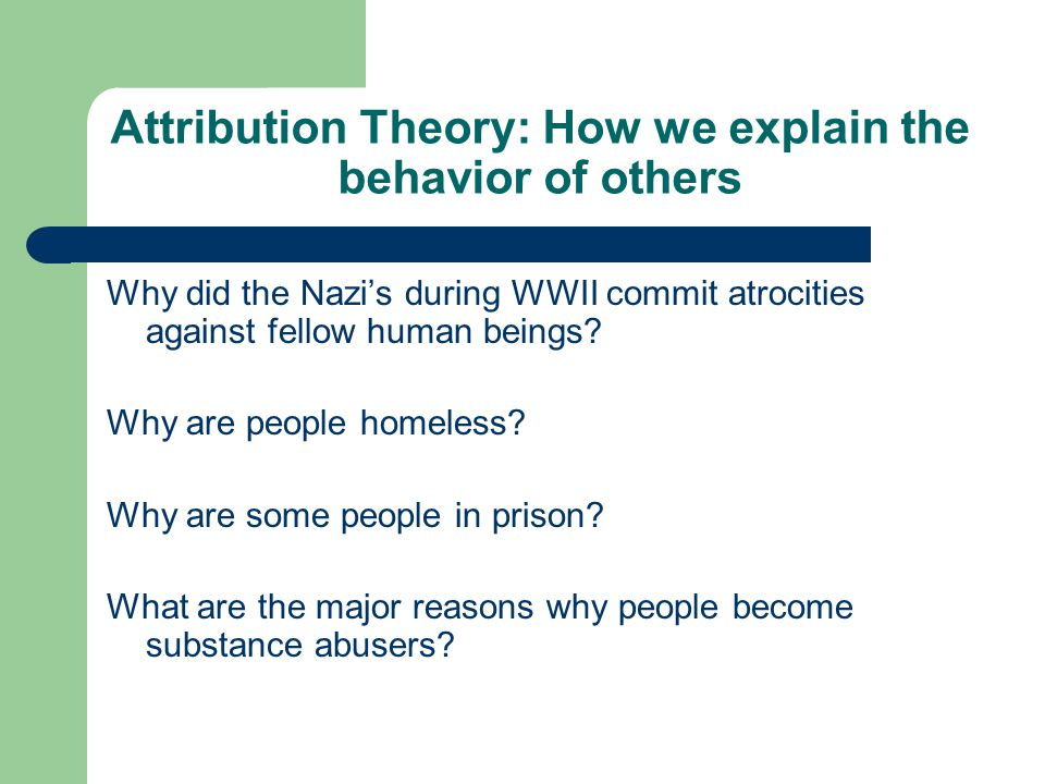 Attribution Theory: How we explain the behavior of others