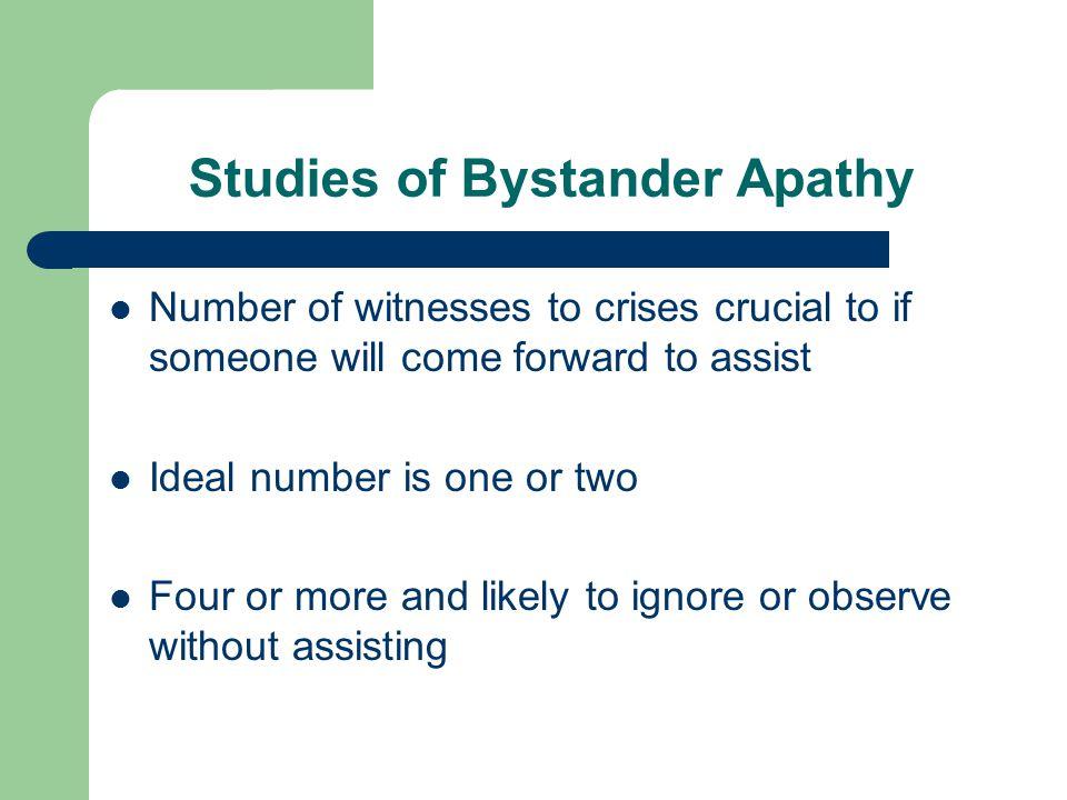 Studies of Bystander Apathy