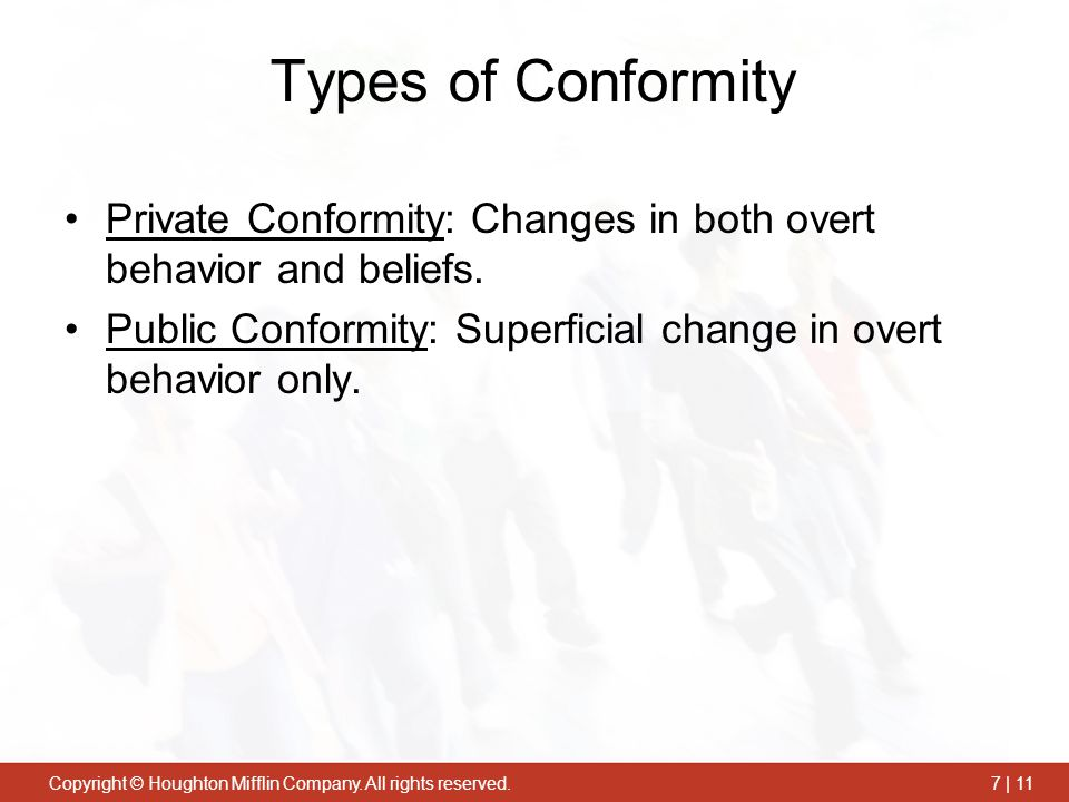 Types of Conformity Private Conformity: Changes in both overt behavior and beliefs.