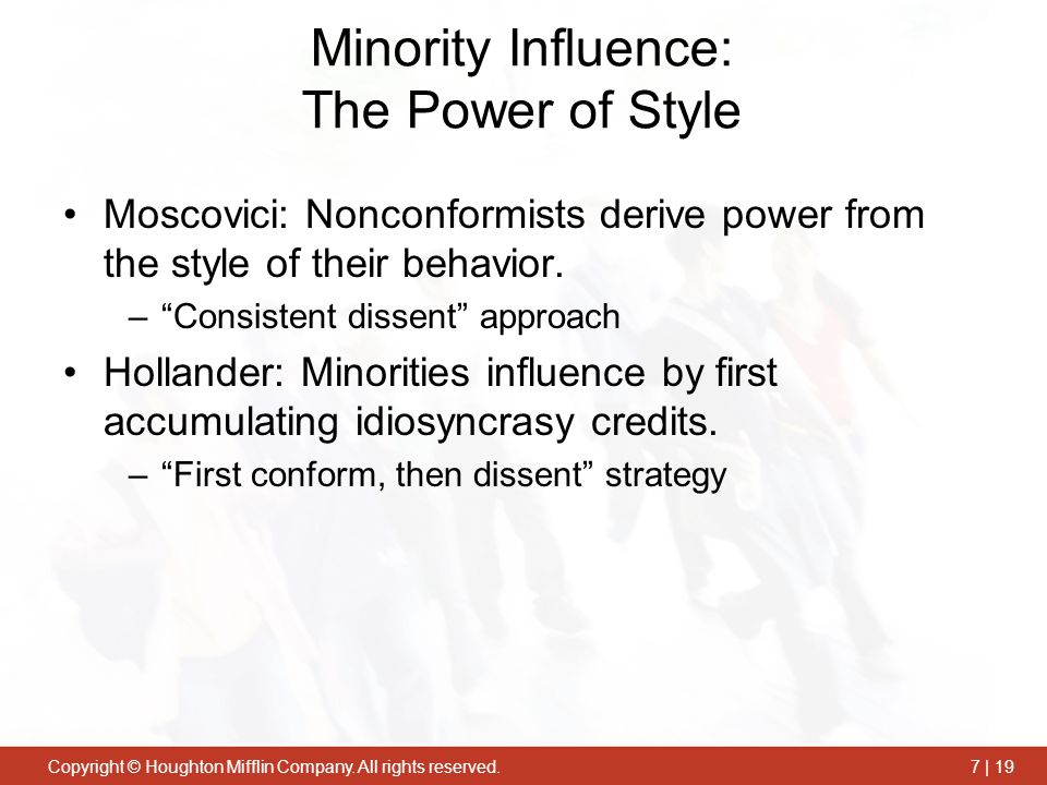 Minority Influence: The Power of Style