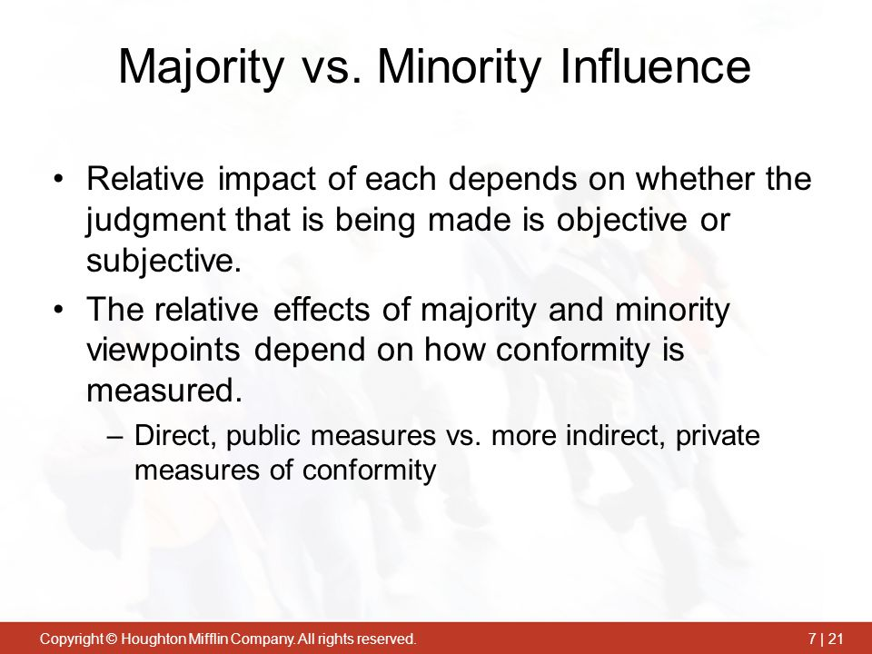 Majority vs. Minority Influence