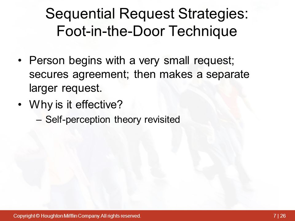 Sequential Request Strategies: Foot-in-the-Door Technique