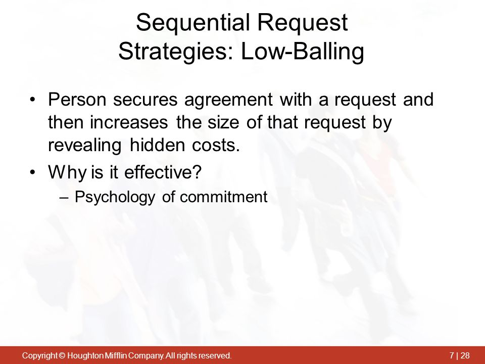 Sequential Request Strategies: Low-Balling