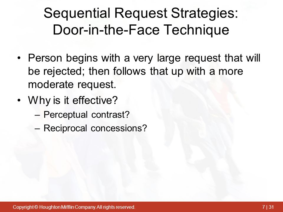 Sequential Request Strategies: Door-in-the-Face Technique