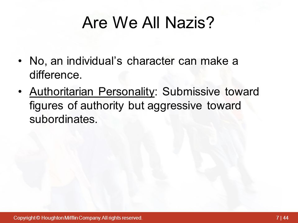 Are We All Nazis No, an individual's character can make a difference.