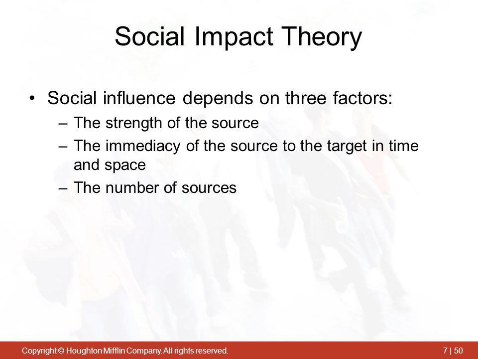 Social Impact Theory Social influence depends on three factors: