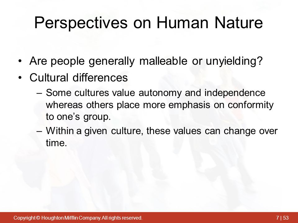 Perspectives on Human Nature