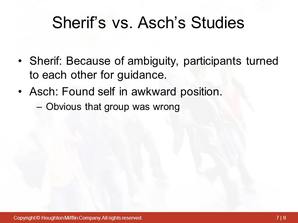 Sherif's vs. Asch's Studies