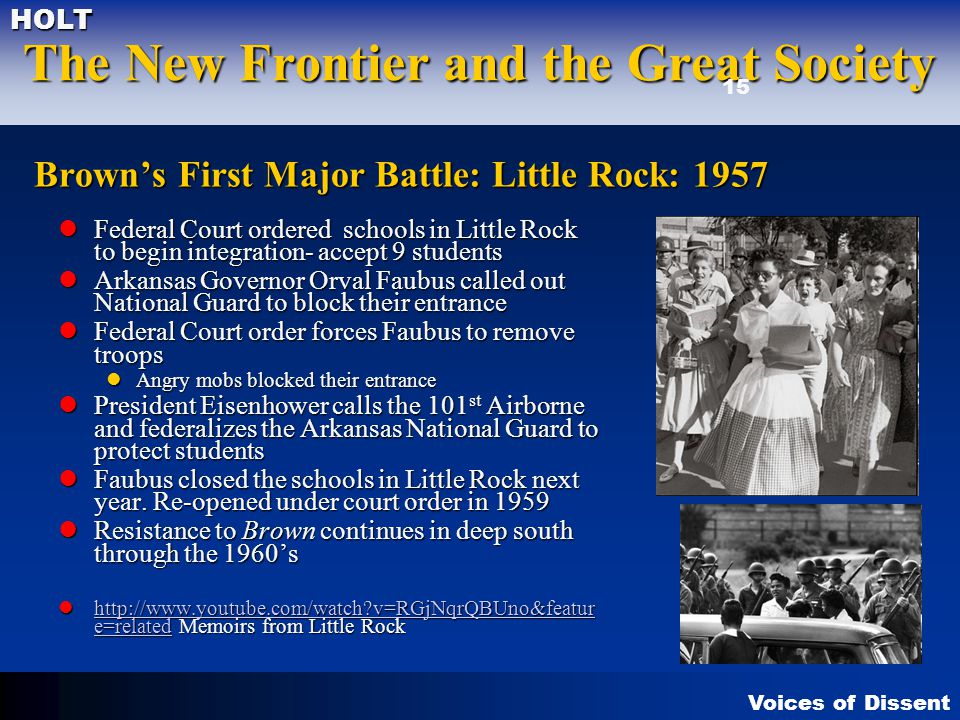Brown's First Major Battle: Little Rock: 1957