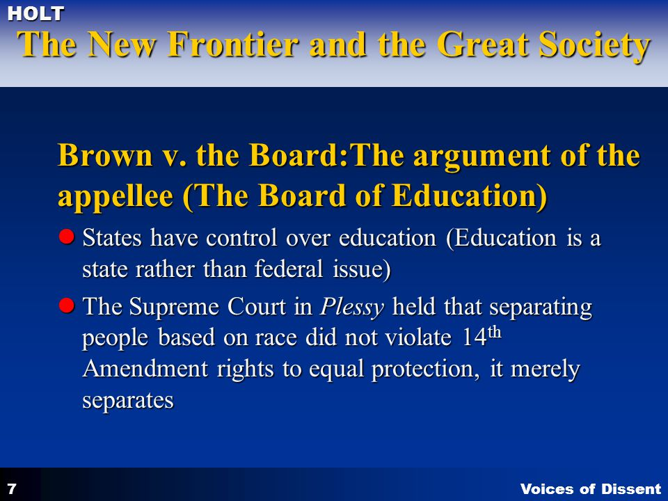 Brown v. the Board:The argument of the appellee (The Board of Education)