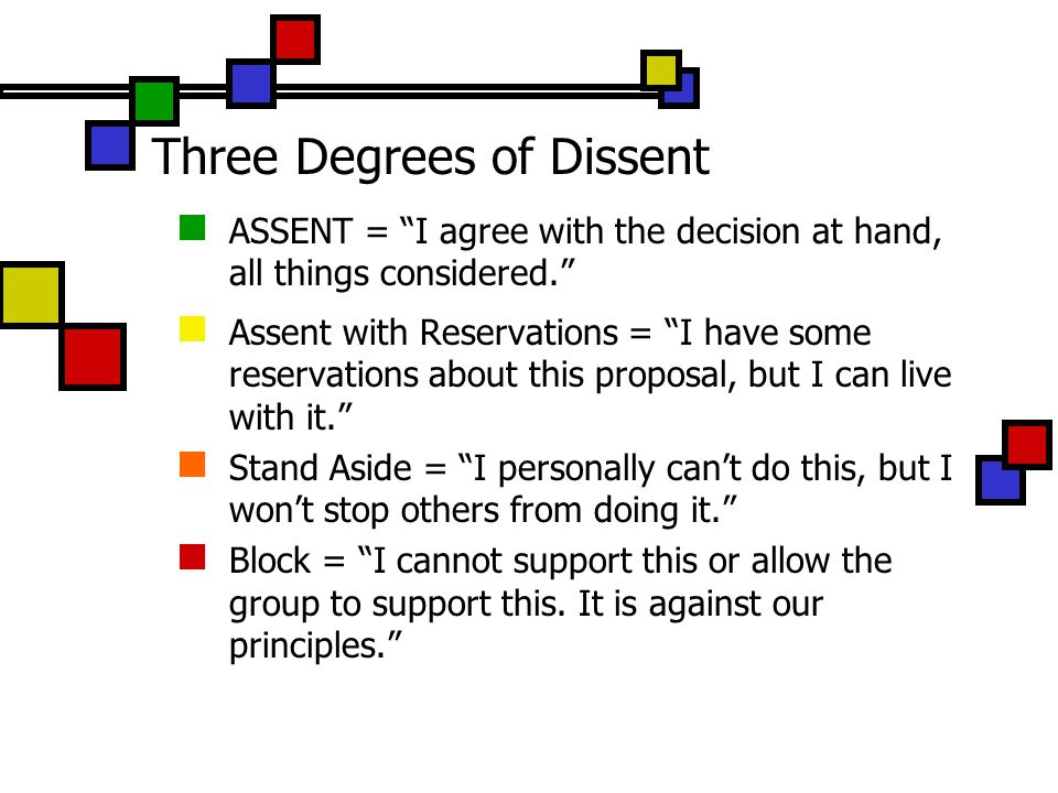 Three Degrees of Dissent