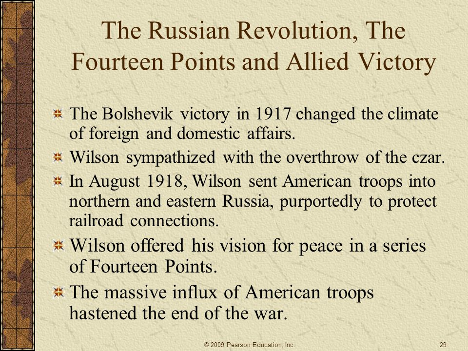 The Russian Revolution, The Fourteen Points and Allied Victory
