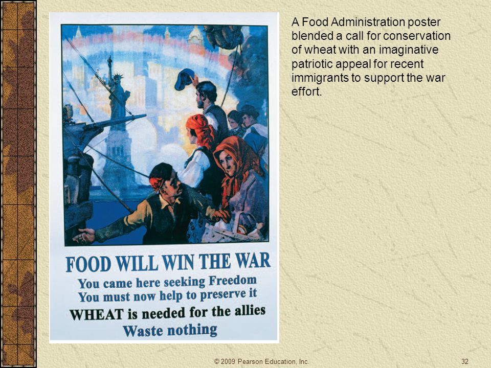 A Food Administration poster blended a call for conservation of wheat with an imaginative patriotic appeal for recent immigrants to support the war effort.