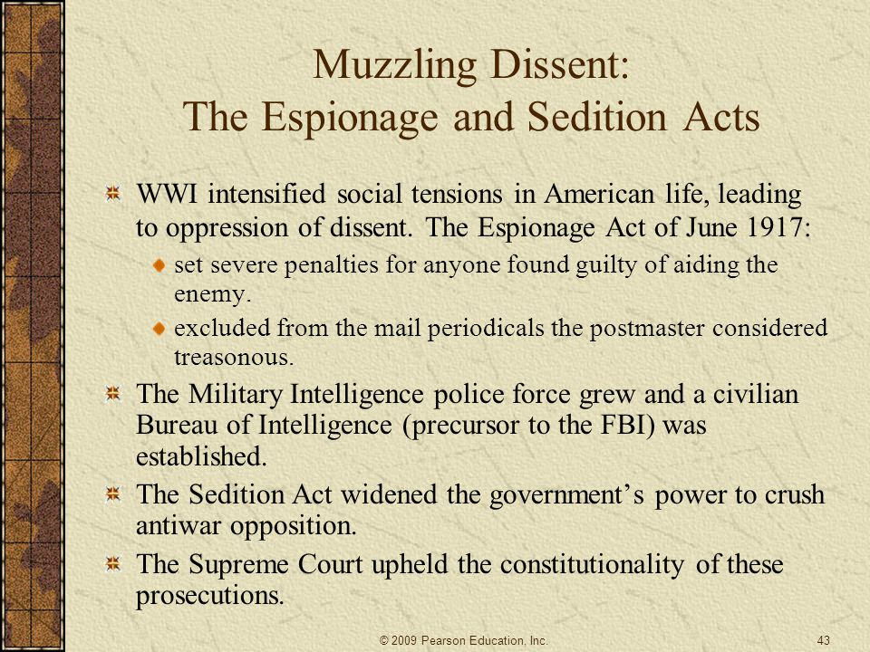 Muzzling Dissent: The Espionage and Sedition Acts