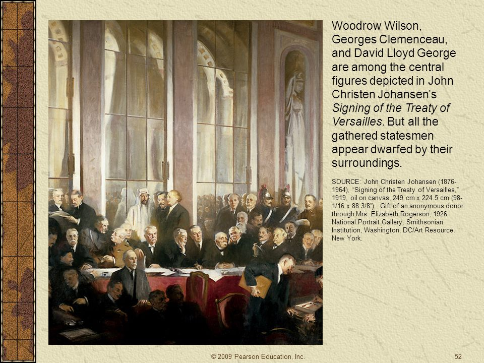 Woodrow Wilson, Georges Clemenceau, and David Lloyd George are among the central figures depicted in John Christen Johansen's Signing of the Treaty of Versailles. But all the gathered statesmen appear dwarfed by their surroundings.