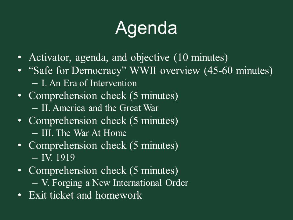 Agenda Activator, agenda, and objective (10 minutes)