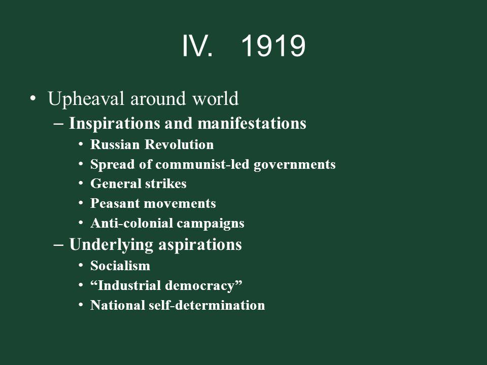 IV. 1919 Upheaval around world Inspirations and manifestations