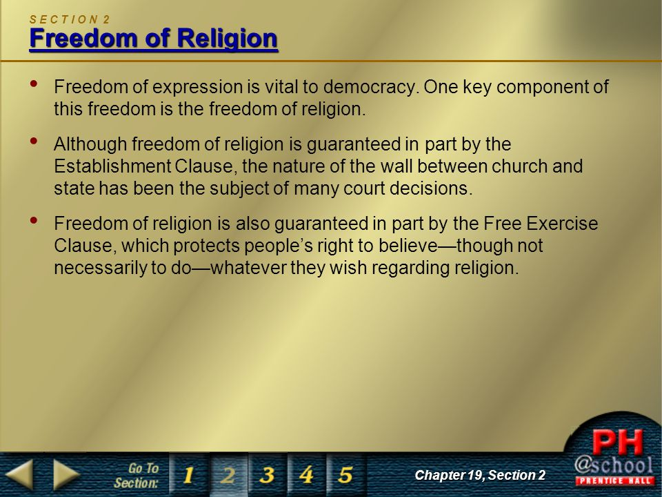 S E C T I O N 2 Freedom of Religion