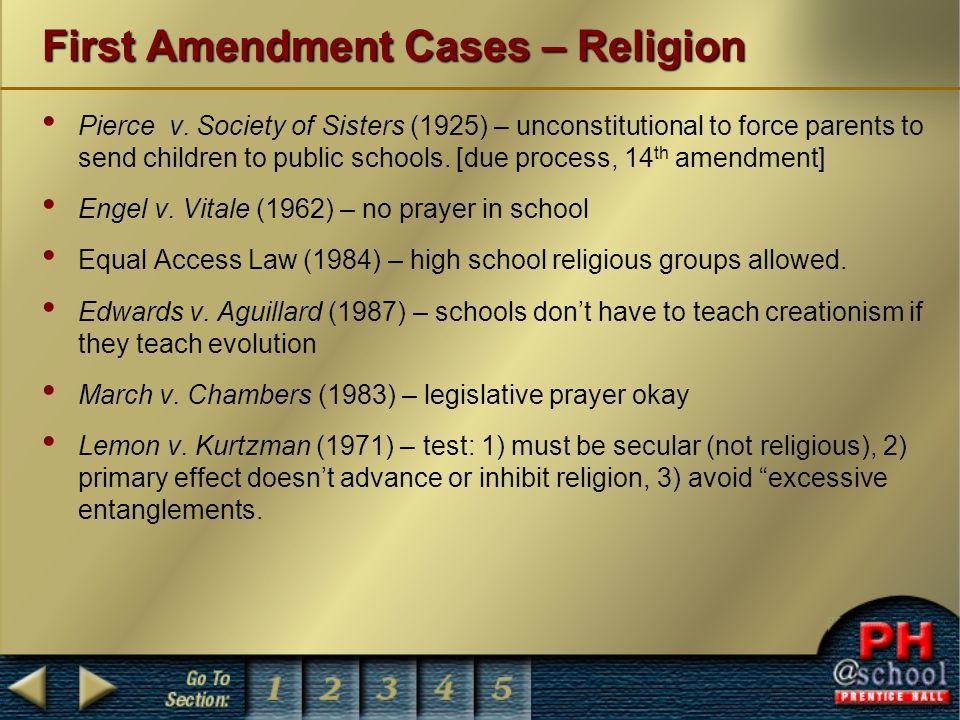 First Amendment Cases – Religion