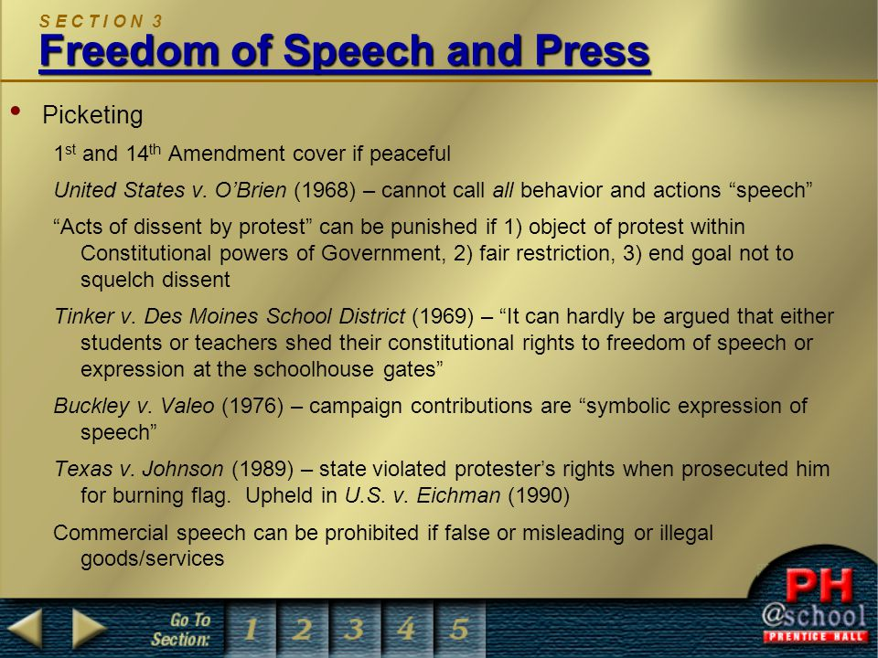 S E C T I O N 3 Freedom of Speech and Press