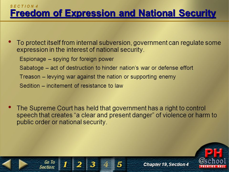 S E C T I O N 4 Freedom of Expression and National Security
