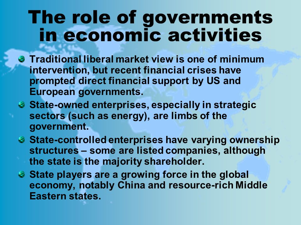 The role of governments in economic activities